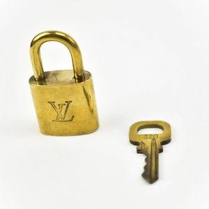 Louis Vuitton Gold Metal Padlock & Key Set #320 (T